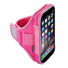 Sporteer Velocity V5 Armband for iPhone 8, iPhone 7, iPhone 6S, Pixel 2, Galaxy S7, Moto, Lumia, and Many Other Phones/Cases - PINK, Small Strap
