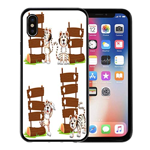 Arrow Clipart - Emvency Phone Case for iPhone X Case Clip Animal White Tiger Wooden Signs Arrow Clipart Creature for iPhone x Phone Csae Clear Protective Cover Decoration