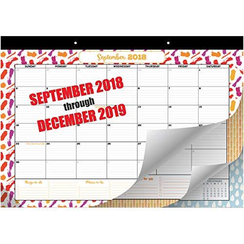 Goodtimes Desk Calendar | Wall Calendar 2018-2019 | Monthly Planner Runs from September 2018 - December 2019 | 17
