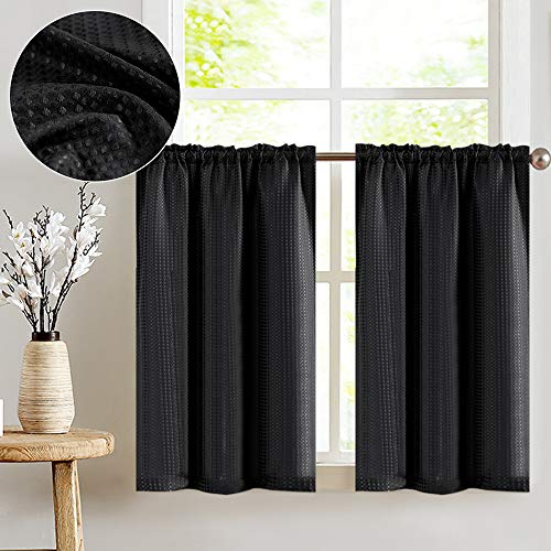 jinchan Short Curtains Waffle Woven Textured for Kitchen Water Repellent Window Covering for Bathroom 72 x 45 Black Two Panels