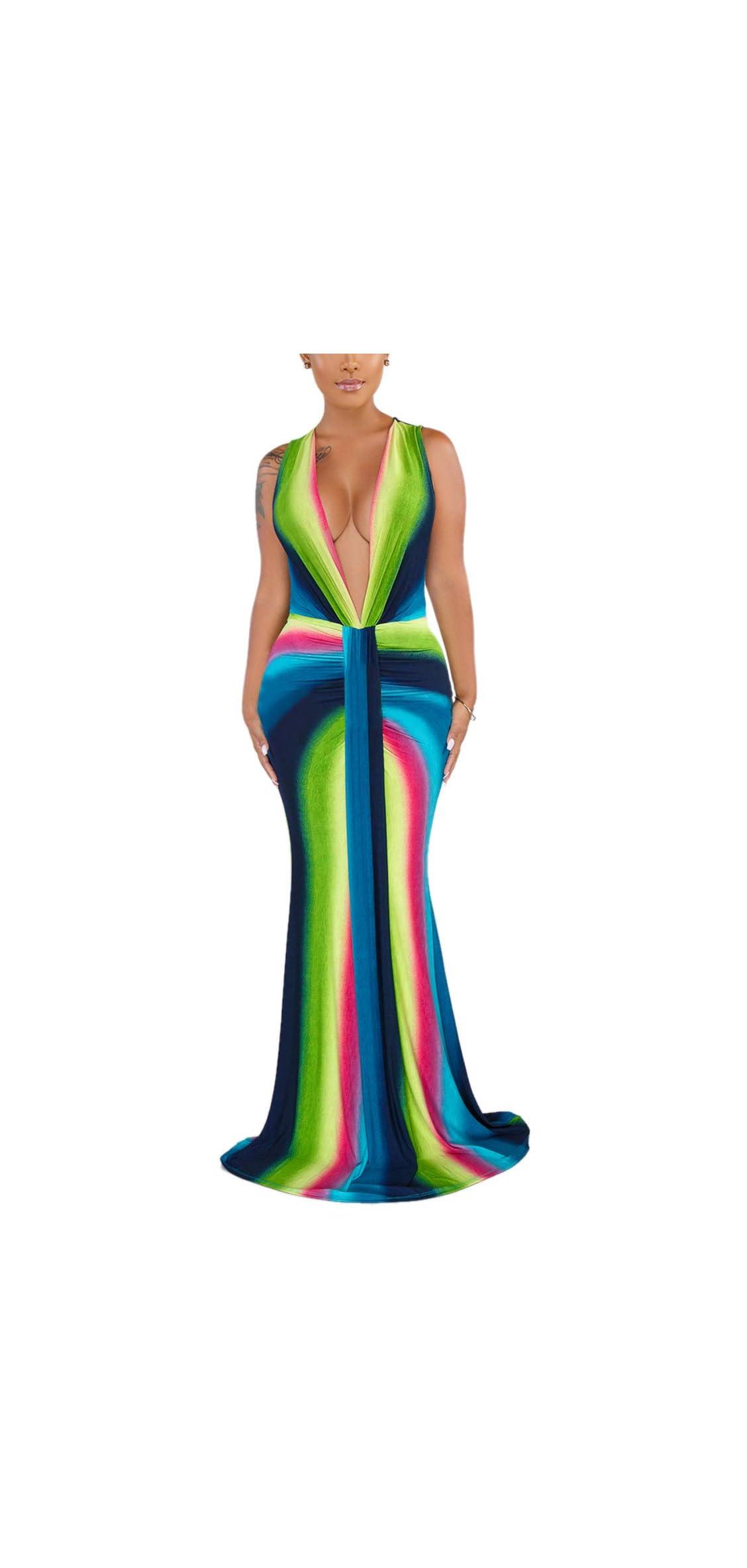 Women's Sexy Long Maxi Dresses Tropical Bodycon V Neck Short