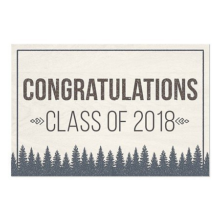 CGSignLab | ''Graduation Party -Rustic Boy'' Repositionable Opaque White 1st Surface Static-Cling Non-Adhesive Window Decal (5-Pack) | 36''x24'' by CGSignLab