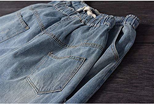 Pantalones Botón Trachtenjeans Stretch Huixin Libre Delanteros Casuales Bolsillos Con Para Destruidos Bordados Al Colour Vaqueros Mujer Aire Fx1dSw