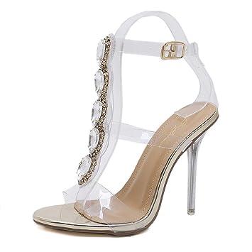 20ac9fc7b35 MKHDD Women Pumps Open Toe High Heels Shoes Buckle Strap Diamonds Crystal  PVC Clear Heels Thin