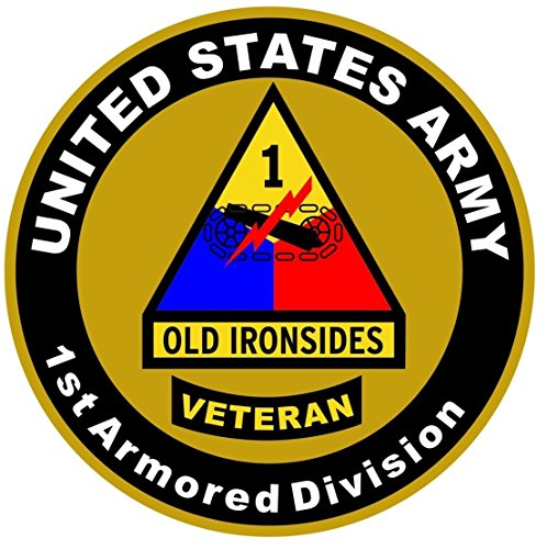 1-Pc Splendid Fashionable US Army Veteran 1st Armored Division Sticker Sign Doors Proud Military Size 8