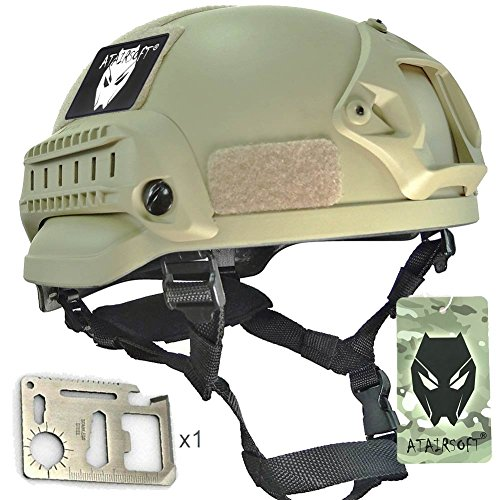 ATAIRSOFT PJ Type Tactical Airsoft Paintball MICH 2002 Helmet With Side Rail & NVG Mount DE by ATAIRSOFT