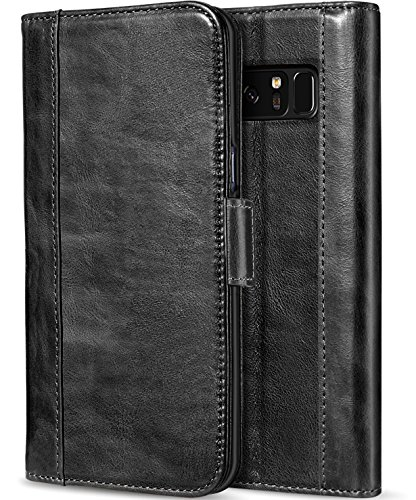 ProCase Galaxy Note 8 Genuine Leather Case, Vintage Wallet Folding Flip Case with Kickstand Card Slots Magnetic Closure Protective Cover for Samsung Galaxy Note8 -Black