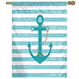 HUANGLING Ship Anchor Chain Marine Life Inspired With Lined Background Ocean Sailing Home Flag Garden Flag Demonstrations Flag Family Party Flag Match Flag 27''x37''