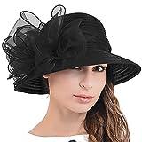 Ascot Kentucky Derby Bowler Church Cloche Hat Bowknot Organza Bridal Dress Cap S051 (Black)