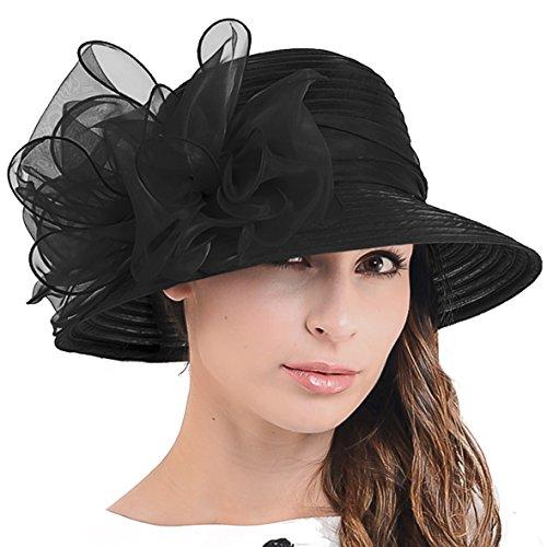 Cloche Oaks Church Dress Bowler Derby Wedding Hat Party S015 (Bow-Black)