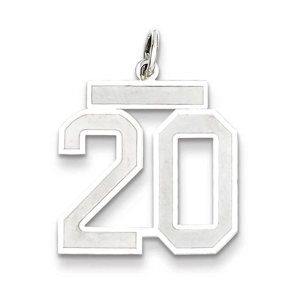 Lex /& Lu Sterling Silver Medium Satin Number 20