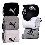 costro Men's Branded Socks With Pu And Ads Logo (Na 01, Black, White And Grey)- Combo Of 6