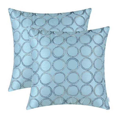 CaliTime Pack of 2 Cushion Covers Throw Pillow Cases Shells for Sofa Couch Home Decoration 18 X 18 Inches Modern Circles Rings Geometric Chain Embroidered Light Blue