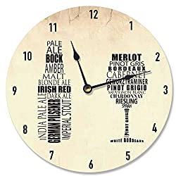 Stupell Home Décor His and Hers Wine and Beer Art Vanity Clock, 12 x 0.4 x 12, Proudly Made in USA