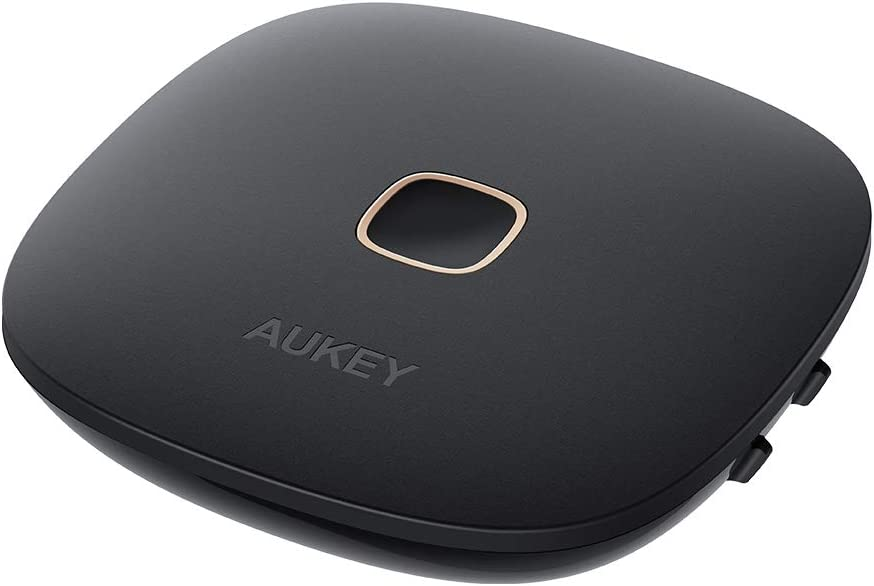 AUKEY Receptor Transmisor Bluetooth 5.0, Audio Adaptador Inalámbrico con aptx-LL, Óptico Digital TOSLINK, RCA o 3,5 mm para TV o el Sistema Estéreo del Hogar