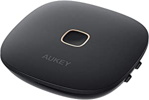 AUKEY Bluetooth 5 Transmitter Receiver, Wireless Audio Adapter with aptX Low Latency, Dual Links for for Headphones, TVs, Home Stereo Systems and More