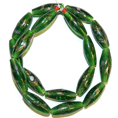 (Bead Jewelry Making Green w Copper Colored Glitter & Swirls 26mm Oval Lampwork Glass Bead 16
