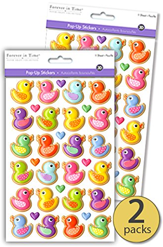 2 Sheets - 48 Stickers - 3D Dimensional Pop-up - Rubber Ducky Duck Party Supplies - Rubber Duck Decorations - Great As Rubber Duck Theme Baby Shower Favors Emebellishments - Bulk Value Pack -
