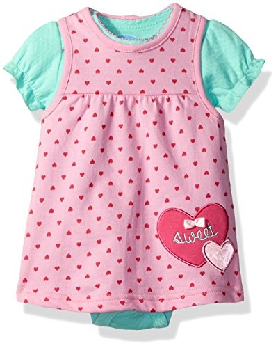 (Bon Bebe Baby Girls' 2 Piece French Terry Jumper Set with Lap Shoulder Short Sleeve Bodysuit, Pink Hearts, 6-9 Months)