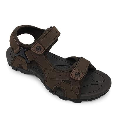 cce1c12513 HEVA Sandali Uomo Trekking Sportivi Outdoor Scarpe Leather Estivi Punta  Aperta