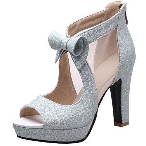 Zapatos Peep Toe Tacon Mode Zanpa Silver Mujer q60W7