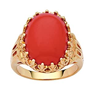 Oval Simulated Coral 14k Yellow Gold-Plated Cabochon Filigree Cocktail Ring Size 10
