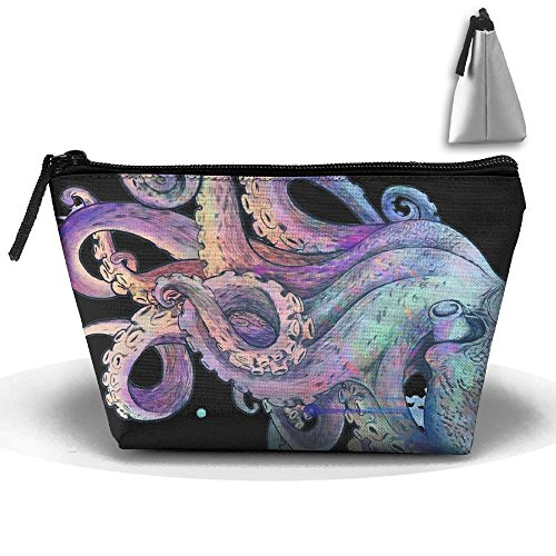 Octopus Tattoo Colorful Design Makeup Bag Large Trapezoidal Storage Travel Bag Wash Cosmetic Pouch Pencil Holder Zipper Waterproof by PengMin