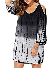 6d81106eed9df Women Cold Shoulder Swimsuit Cover Ups Plus Size Tie-Dyed Beach Cover-ups  Mini