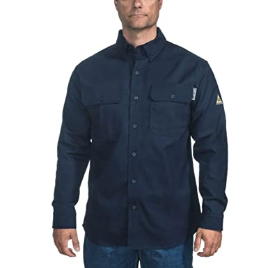 Men S Navy Blue Frs160 Oxford Flame Resistant Classic Twill Shirt
