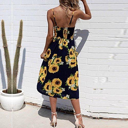 Women Beach Summer Print Shoulder Dress Crystell Dress Sexy Off Sleeveless Dress Party Button HpPdqOw