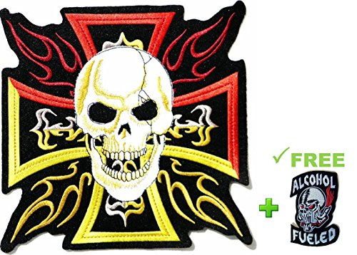 Super Worth! 1 Large Skull w/ Cross + Small Skeleton Head Cool Patches Badge Over 80% Embroidered Iron-on Sewing Craft for Motocycle Cycler Rock Ounk (Tongue Ring Iron Cross)