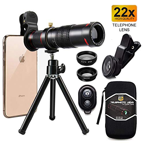 Cell Phone Camera Lens,Phone Photography Kit-Flexible Phone Tripod +Remote Shutter +4 in 1 Lens Kit-High Power 22X Monocular Telephoto Lens, Fisheye, Macro & Wide Angle Lens for Smartphone (Black)