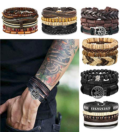 - 51ljvx5vVlL - LOLIAS 24 Pcs Woven Leather Bracelet for Men Women Cool Leather Wrist Cuff Bracelets Adjustable
