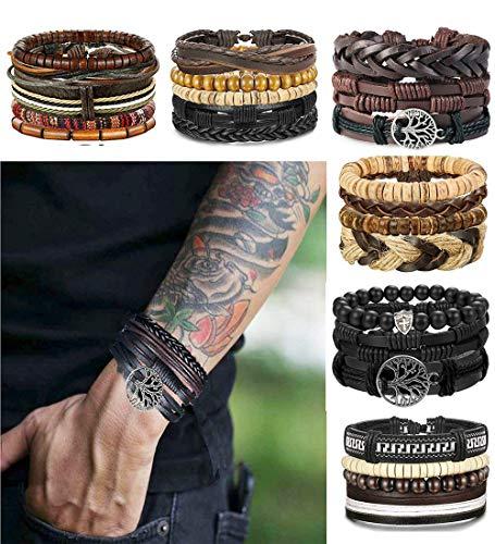- 51ljvx5vVlL - LOLIAS 24 Pcs Woven Leather Bracelet for Men Women Cool Leather Wrist Cuff Bracelets Adjustable
