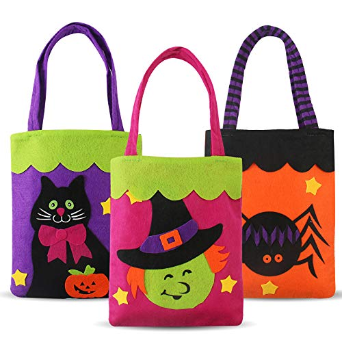 Halloween Candy Felt Bags(3pcs) for Kids Boys Girls, Pumpkin Candy Hand Bags Trick or Treat Bags Felt Bags with Handle for Kids Halloween Costume -