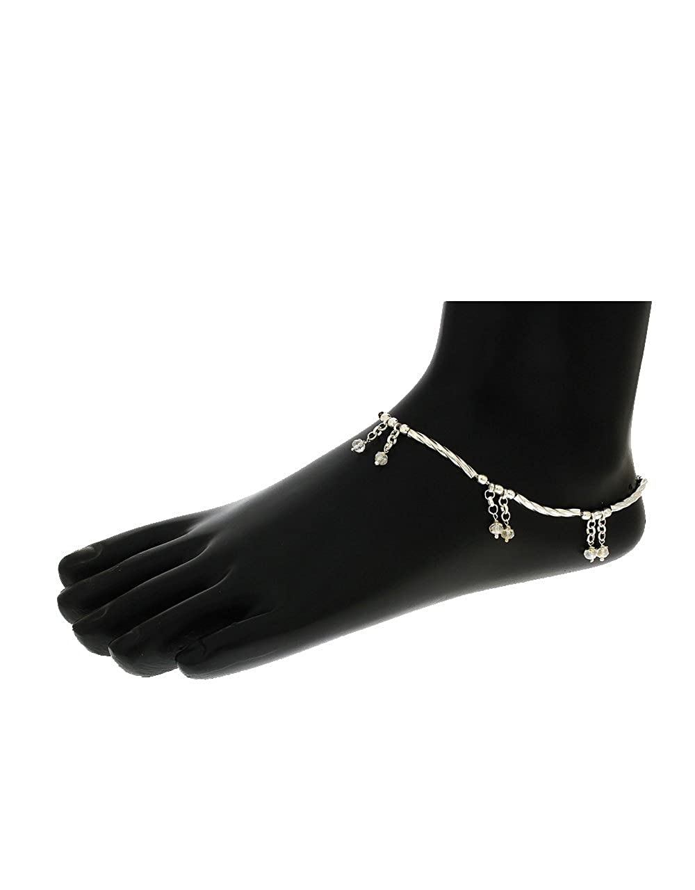 Anuradha Art Silver Colour Styled with Designer Hanging Crystal Beads Droplets Anklets//Payal for Women//Girls
