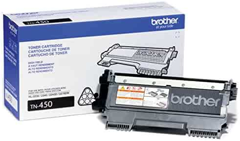 Brother Genuine High-Yield Toner Cartridge, TN450, Replacement Black Toner, Quality Printing, Page Yield Up To 2,600 Pages