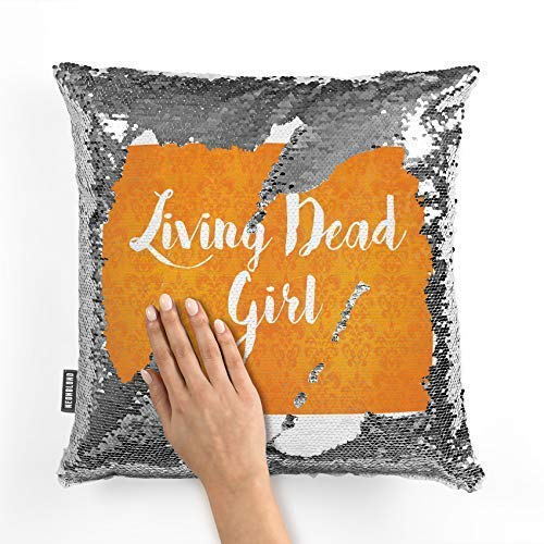 King65irginia Cushion Cover Living Dead Girl Halloween Orange Wallpaper Reversible Sequin Throw Pillow Covers 16 x 16 Funny Pillow Case Silver ()
