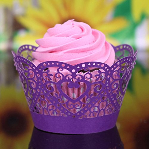 Muxika 25Pcs Hollow Lace Cup Muffin Cake Paper Case Wraps Cupcake Wrapper for Wedding Birthday Festival Party Decoration DIY Cupcake (Purple)
