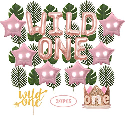 Wild One Birthday Decorations | First Birthday Party Supplies | 1st Baby Girl Birthday Party Hat Pink Crown with Pink Hair Band | 24 PCS Artificial Palm Leaves | 16