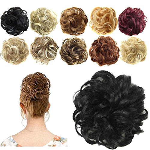 FESHFEN Synthetic Hair Bun Extensions Messy Hair Scrunchies Hair Pieces for Women Hair Donut Updo -
