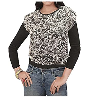 4e4001bbf3aa6 2 IN 1 Fancy Crop Top Black and White Net and Full sleeve Black Inner   Amazon.in  Clothing   Accessories