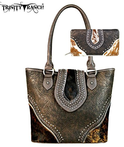Montana West Trinity Ranch Tooled Hair-On Leather Collection Purse Wallet Set (Coffee) by Montana West
