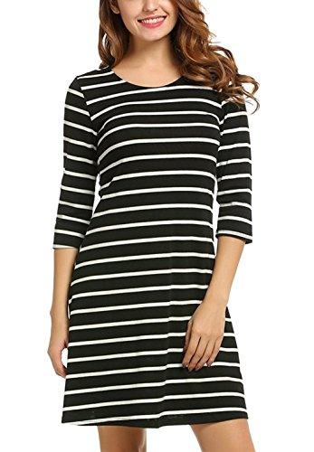 Kancystore Women's Crew Neck 3/4 Sleeve Striped Loose T-Shirt Mini Dress Black L