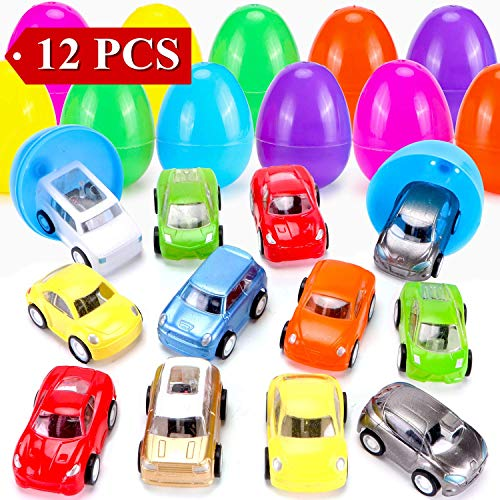 12 Pieces Easter Eggs Filled with Mini Toys - Perfect As Party Favors, Easter Egg Hunt Supplies - Different Plush Toy Filled 3.15 DIY Colorful plastic eggs