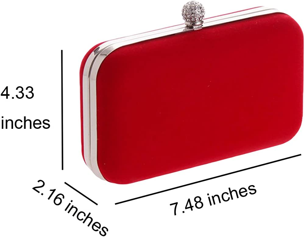Yealize Womens Velevt Clutch Purse Rhinestones Evening Handbag for Wedding and Party