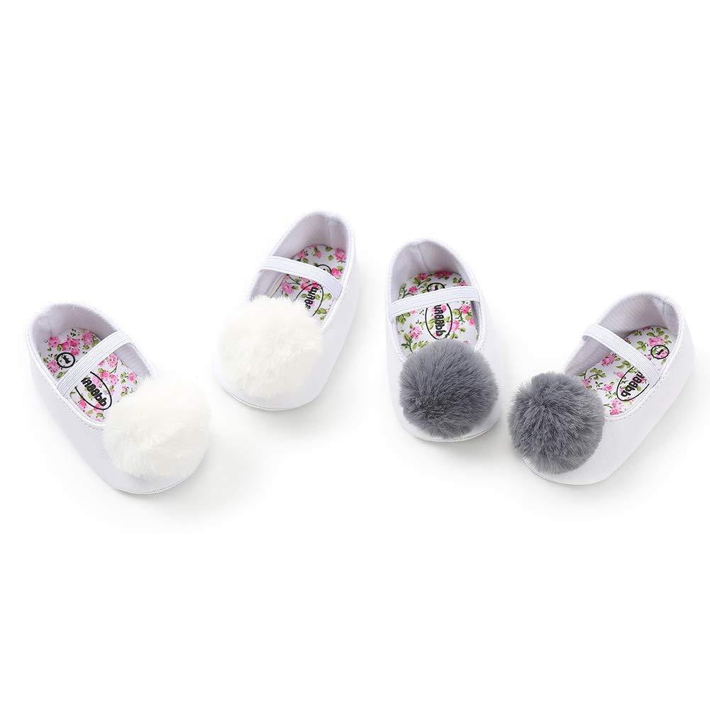 White 12cm Alamana Fashion Lovely Pompom Infant Baby Girl Soft Sole Prewalker Toddler Shoes Gift