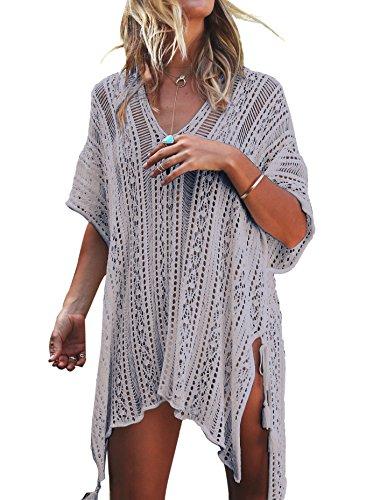 (Jeasona Women's Bathing Suit Cover up Beach Bikini Swimsuit Swimwear Crochet Dress (Grey, M))