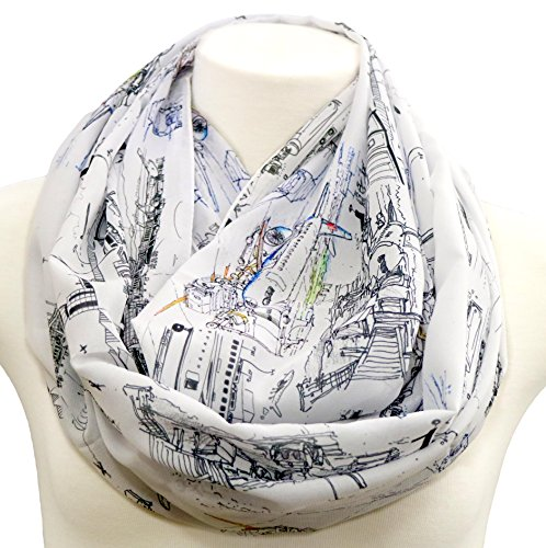 Airport infinity Scarf with aviation aeroplane pilot stewardess boeing airbus Flight attendant Hostess birthday gift for her graduation present
