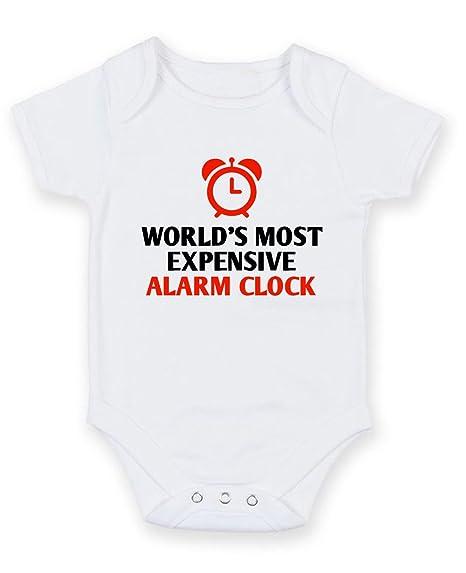 Más caro del mundo reloj despertador – personalizable bebé niño Niña Unisex body de manga corta